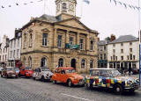 Citroen 2CV in the centre of Kelso in the Scottish Borders  -  during the World 2CV Meeting held at Kelso, July 2005