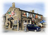 Leeds, Rawdon -  Public House, decorated in support of the English team in the Football World Cup being held in South Africa, June 2010