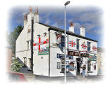Pudsey, Leeds  -  The White Horse, decorated in support of the English team in the Football World Cup being held in South Africa, June 2010