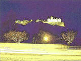 Picture derived from a photograph of Edinburgh Castle and the Christmas Lights on the trees in West Pricnces Street Gardens