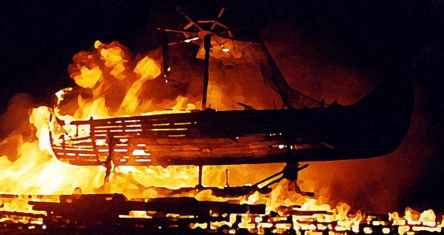 Picture derived from a photograph of Bonfire on Calton Hill  -  29 December 2003