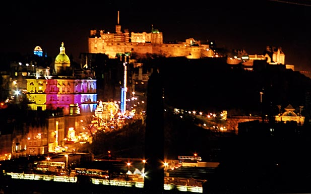 View from Calton Hill looking towards Edinburgh Castle  -  29 December 2003