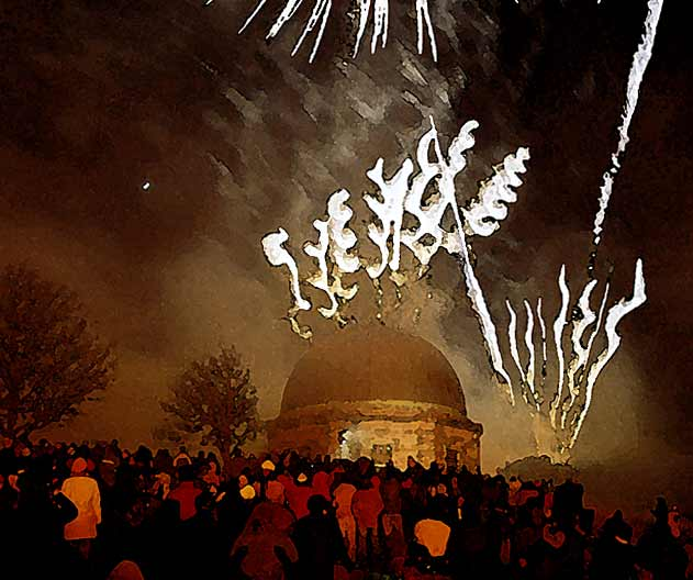 Picture derived from a photograph of Fireworks on Calton Hill  -  29 December 2003