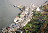 Photograph taken from a helicopter  -  looking down on High Street, South Queensferry  -  6 December 2003