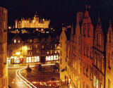 West Bow, The Grassmarket and George Heriot's School (floodlit at top of picture)
