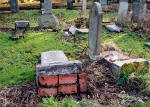 Photograph by Peter Stubbs  -  Edinburgh   -  January 2003  - Warriston Cemetery gravestones toppled 1
