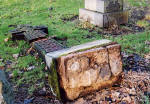 Photograph by Peter Stubbs  -  Edinburgh  -  January 2003  -  Warriston Cemetery gravestone toppled 4