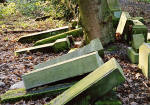 Photographs by Peter Stubbs  -  Edinburgh  -  January 2003  -  Warriston Cemetery toppled gravestones