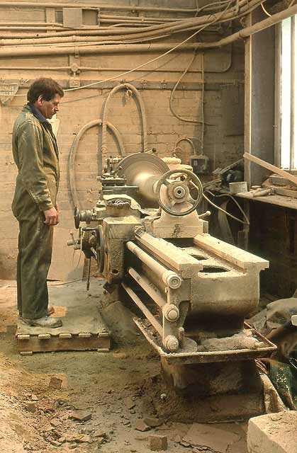 Clark Stonemasons  -  Canonmills, Edinburgh  -  at the lathe