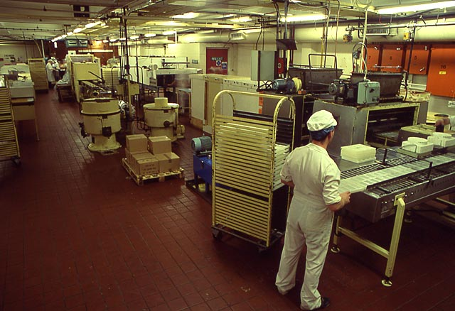 Duncan's Chocolate Factory  -  Beaverhall Road, Edinburgh,  1991  -  A general view of one of the two floors of the factory