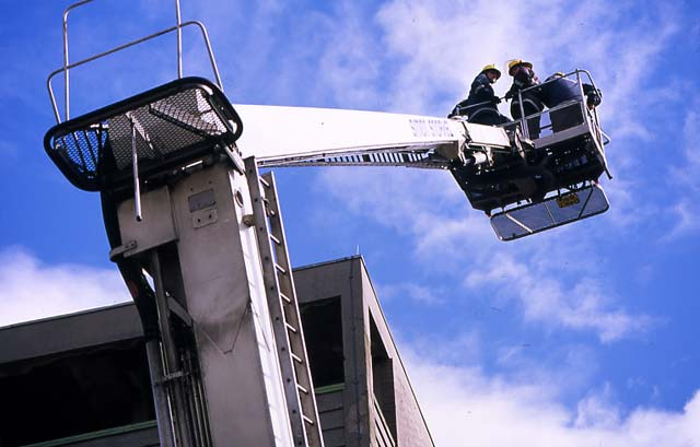 Firemen training on turntable ladder  -  McDonald Road Fire Station  -  30 May 1995
