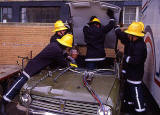Training for rescuing victims from car crashes  -  Tollcross Fire Station  -  22 June 1993