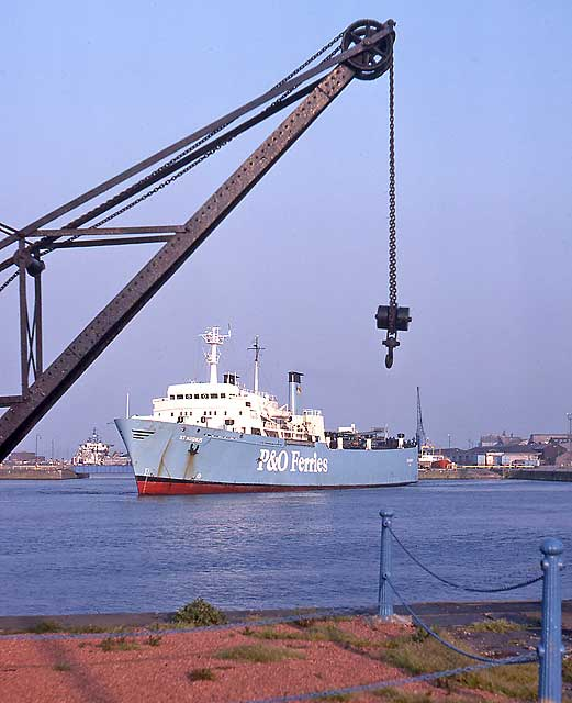 Crane on the dockside and P&O Ferry  -   Leith Docks