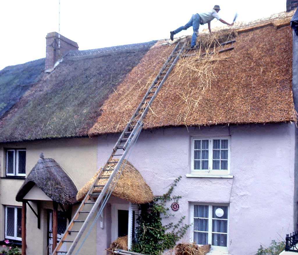 People at work around Britain  -  Thatching at Bishop's Tawton, Somerset, 1985