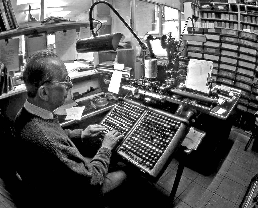 Edinburgh at work  -  Speedspools - monotype printers -  The Workbench  -  1995
