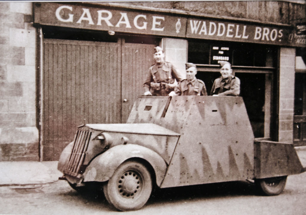 A photo of Waddell Bros. garage, Spylaw Street, Colinton, taken during World War II