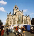 Photograph by Peter Stubbs  -  Edinburgh  -  August 2002  -  St Giles Cathedral in the High Street, during Edinburgh Festival.