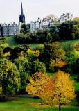 Princes Street Gardens in October  -  looking towards Ramsay Garden