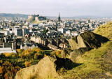 Photograph by Peter Stubbs  -   Edinburgh  -  November 2002  -  View from the slopes of Arthur's Seat in Queens's Park  -  looking to the north-west across the Old Town of Edinburgh towards Edinburgh Castle