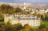 Photograph by Peter Stubbs  -  Edinburgh  -  November 2002  -  Looking down on Holyrood Palace from the slopes of Arthur's Seat in Queen's Park