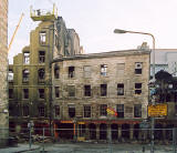 Photographs by Peter Stubbs  -  Edinburgh  -  December 2002  -  Fire in the Old Town of Edinburgh  -  Dismantling the wall in Cowgate