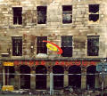 Photograph by Peter Stubbs  -  Edinburgh  -  December 2002  -  Fire in the Old Town of Edinburgh  -  The Gilded Balloon frontage