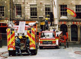 Photograph by Peter Stubbs  -  Edinburgh  -  December 2002  -  Fire in the Old Town of Edinburgh  -  Gilded Balloon in the Cowgate