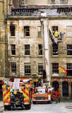 Photograph by Peter Stubbs  -  Edinburgh  -  December 2002  -  Fire in the Old Town of Edinburgh  -  The Gilded Balloon, Cowgate