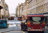 Photograph by Peter Stubbs  -  Edinburgh  -  December 2002  -  Fire in the Old Town of Edinburgh  -  The South Bridge