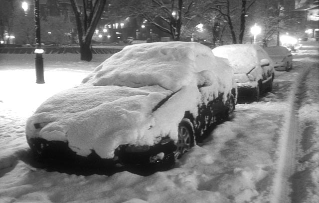 Parked cars near McGill University -  after a late-winter snow storm
