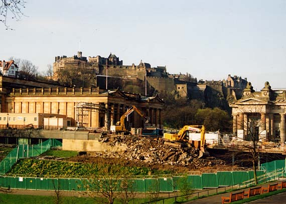 National Galleries  -  Construction work for the Playfair Project to link the two galleries at the foot of the Mound