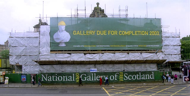 The Royal Scottish Academy  -  Frontage facing Princes Street draped in preparation for work on the Playfair Project.