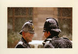 Christmas Card published by City of London Police, featuring my photograph of two Policemen standing in a snowstorm and chatting, near the Bank of England Head Office in the City of London