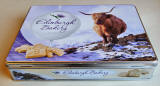 A tin for shortbread, sold at Christmas 2011 by Edinburgh Bakery, featuring my photo of a highland cow near Crianlarich