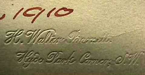 H Walter Barnett's stamp from the bottom of his photograph of William Crooke - 1910