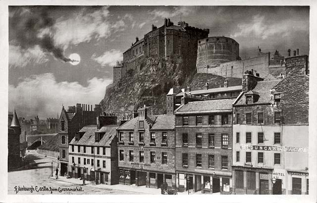 Edinburgh Castle from the Grassmarket  -  post card - Alex Anderson