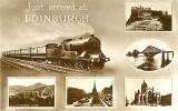 Multiview Edinburgh Postcard  from an unidentified publisher -  Main picture is a train