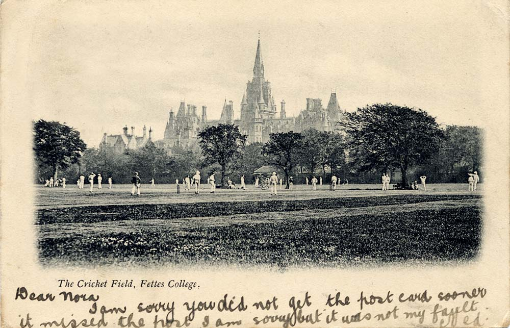 Postcard by an unidentified publisher  -  Fettes College  -  The Cricket Field  -  Enlarged Picture