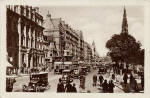 Postcard by an unidentified publisher  -   Looking to the east along a busy princes street, possibly in the 1930s
