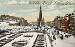Postcard by an unidentified publisher  -    Looking to the west along Princes Street, with Best Xmas Wishes