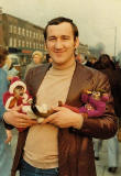 Eric Gold at Bethnalll Green Market, London with his two monkeys, 1966