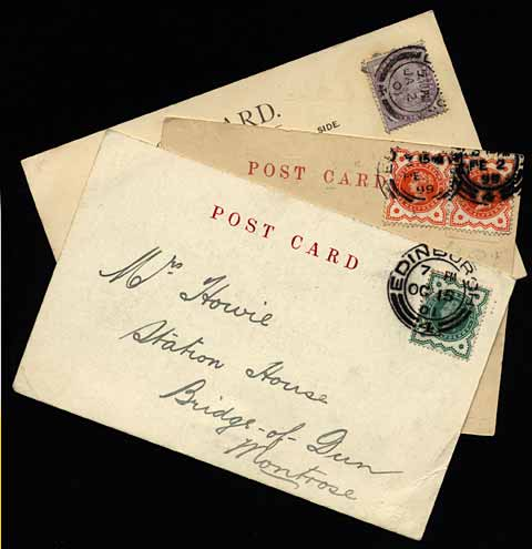 Three postcards  - Queen Victoria Stamps