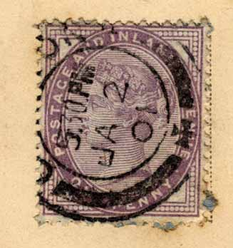 Queen Victoria Penny Stamp  -  on a Postcard, posted 1901