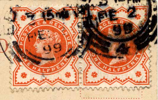 Two Queen Victoria Halfpenny Stamps  -  on a Postcard, posted 1899