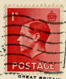 Enlargement of a King Edward VIII stamp on a postcard  -  1936