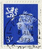 3p stamp used on postcard