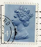 Queen Elizabeth II stamp  -  4.5p