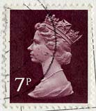 Queen Elizabeth II stamp  -  7p