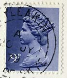 Queen Elizabeth II stamp  -  9p