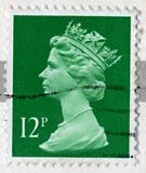 Queen Elizabeth II stamp  -  12p